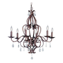 Murray Feiss - 6 Bulb Peruvian Bronze Chandelier - - UL Approved.