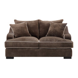 None - Emerald Caresse Mocha Down Filled Loveseat - Mocha cover with buckwheat welting over solid wood frame,8-way,hand-tied springs,feather blended/foam cushions and pillows and wood leg. Reversible back cushion and loose seats.