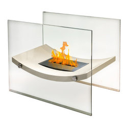 Anywhere Fireplace - Broadway Ventless See-Through Freestanding Bioethanol Fireplace - The Anywhere Fireplace Broadway model combines the sophisticated elegance of beige lacquer and glass fireplace with all the benefits of a bio-ethanol fireplace: No installation, clean burning, ventless, needs no chimney, gas or electric hook-up. The gracefully curved body of the fireplace will add a distinctive focal point to any room in which you choose to place it and will work with any decor. You may use it safely indoors or outdoors, just be sure to either cover it or bring the burner inside so water does not get into it if you choose to use it outdoors. Place it on the floor or on a large table and its beautiful dancing flames will create the perfect ambiance.