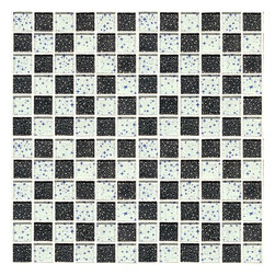 Glossy Glass Mosaic Black and White Blend of Planets and Stars - Glossy glass mosaic