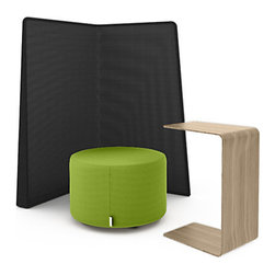 Turnstone - Campfire Island - The Campfire Island consists of one Screen for privacy, one Ottoman for a place to sit, and one Personal Table for a writing surface or laptop stand. Get work done in an informal, semi-private setting, or just look at things from a fresh perspective away from your desk.
