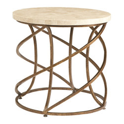 Sherrill Occasional - Sherrill Occasional Round Lamp Table M13-30 - Spiraled wrought iron base lamp table with a fossil stone top in a natural cream coloration.