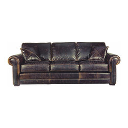 """Presidential-LeatherShoppes.com - Lassiter Lancaster- Leather Roll Arm Sofa, Extra Deep, Brompton Brown - Big, deep seated at 48"""". Pure comfort with 2 complimentary leather pillows. All cushions are removable. Built in USA. Kiln dried Appalachian hardwood, Eight way hand tied spring suspension, Double doweled frames, Corner block joinery, steel band reinforced. Spring-Down Cushions standard...Leather pictured is Brompton (Cocoa) Brown."""