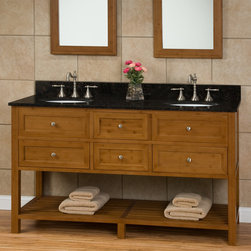 """60"""" Taren Bamboo Double Vanity for Undermount Sinks - This 60"""" bamboo Double Vanity has Adding a stone countertop with matching backsplash and its cabinet features multiple drawers and an open shelf."""