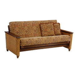 Night & Day Furniture - Night and Day Magnolia Futon in Honey Glaze - No Drawers - The Magnolia's stately elegance will surprise you with its usefulness... lift the arm rest to reveal spacious storage inside. Our Rattan Floral collection, built in wicker and natural fiber weaves, with cane and wood construction, is our most decorative collection. Bound at the corners in real raw hide leather, these frames are tough and rugged and absolutely charming. Delightful and luxurious, with their richness of texture, the Rattan Floral collection brightens up any interior. All Rattan Floral collection items come with a limited 5 year warranty.