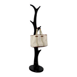 """Welland - 68""""inch Height Wooden Freestanding Coat Rack Hanger, Gloss Black - Nothing says """"stay awhile"""" like offering your guests a place to hang their coat. And when you do, you'll not only impress your company with your impeccable etiquette, but with your flawless taste in home furnishings. The solid wood design of the branch-like hangers offers a unique twist on an old design."""