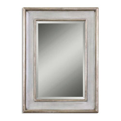Uttermost - Ogden Antique Light Blue Mirror - This wood frame features a hand rubbed sky blue finish with ivory undertones and lightly antiqued silver leaf details give the appearance of a blue green finish.