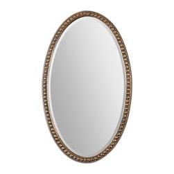 "Uttermost - Uttermost 12885 Beadel Antique Gold Leaf Oval Mirror - 50"" Length - Lightly Antiqued Gold Leaf w/ Gray Wash"