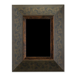 Lawrence Frames - Rustica Bronze 4x6 Picture Frame, Bronze, 4 X 6 - Decorative bronze and burnished gold picture frame with muted scroll pattern.  This composite frame has a rich and lustrous bronze finish.  High quality black velvet backing with an easel for vertical or horizontal table top display, and hangers for vertical or horizontal wall mounting.    Heavy weight composite picture frame is made with exceptional workmanship and comes individually boxed.