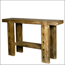 Reclaimed Wood Furniture - Sometimes narrow spaces call for unique solutions. Our Rustic 10-Holes Console Table is the perfect fit for hallways, window areas, and behind sofas.