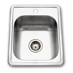 Houzer - Houzer Hospitality Top Mount Large Bar Sink with Three Holes, Satin (1722-7BS-1) - Houzer 1722-7BS-1 Hospitality Top Mount Large Bar Sink with Three Holes, Satin