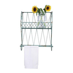 Country Chic Wall Shelf with Towel Bar - It's a little bit country. A little Parisian chic. We love the way this industrial metal shelving unit is dolled up in a sweet aqua blue. It doesn't get any more charming than this.