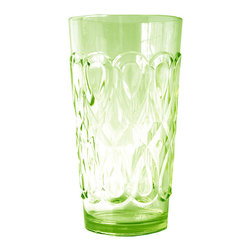 Frontgate - Set of Six Casablanca Highball Glasses - Constructed of 100% heavyweight polycarbonate. Available in three colors. Microwave and top-rack dishwasher safe. Recyclable. Though it looks like glass, the elegant Casablanca collection is constructed of polycarbonate plastic, rendering the set unbreakable. Polycarbonate's heavy weight makes each piece feel like glass and allows you to entertain anywhere – even on a picnic – without worrying about dropping one.. . . .