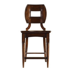 Stanley Furniture - Artisan-Wood Counter Stool - Expect comfort from the gently-curved back of the Wood Counter Stool. While you're at it, prop those boots on the foot rest without worry. The kick plate protects your chair from scrapes and scratches.