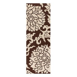 """Thomas Paul - Rugs Blossom, Chocolate and Cream, 2'6"""" X 7'6"""" Runner - Designed by Thomas Paul, part of the Thomas Paul Rugs Collection. Tufted pile. Made in India."""