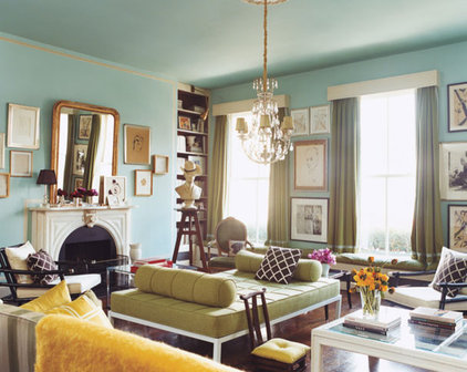 Contemporary  Turquoise living from (Domino via House of Turquoise