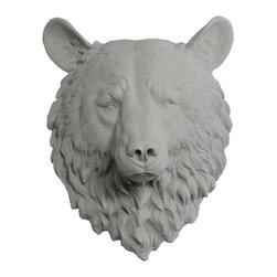 Wall Charmers - Wall Charmers Bear in Gray | Fake Animal Head Faux Resin Bust Decor Fauxidermy - WALL CHARMERS FAUX TAXIDERMY BEAR HEAD