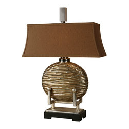 """Uttermost - Asian Uttermost Rhona Table Lamp - From Uttermost this distinctive table lamp is in a class all its own. Features an oval striated antiqued silver body on a rectangular footed base with a bronze fabric shade on top. Takes one 100 watt bulb (not included). 28"""" high. Shade is 8"""" x 19"""" across the bottom.  Antiqued silver finish.  Takes one 100 watt bulb (not included).   28"""" high.   Rectangular shade is 8"""" x 19"""" across the bottom."""