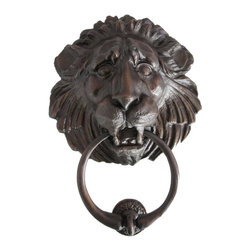 Eron Johnson Antiques - Large Antique Reproduction Bronze Lion Head Door Knocker - This piece is a faithful reproduction of the 18th century original, a contemporary casting we commission for our clientele who often find such period pieces impossible to find.