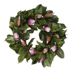 Jane Seymour Botanicals - Wreath Magnolia Bud, Fuchsia - Capture the magic of about-to-bloom magnolias — forever. This lovely wreath of remarkably realistic leaves and hot pink buds can adorn your home for as long as you like.
