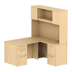 "Bush - Bush 300 Series 60"" L-Shape Desk with Hutch in Natural Maple - Bush - Commercial Grade Office - 300S052AC - Transitional, classic styling fits ideally in any residential, commercial or office environment with the Bush Natural Maple 300 Series 60""W X 30""D Single Pedestal L Desk (B/B/F) and Return (F/F) with 60""W Tall Overhead Storage. Larger top surface and return offer plenty of workspace. Two box drawers and one file drawer in the pedestal store files or office supplies. The 60"" Return features two file drawers on fully extendable drawer slides for easy access to back. All file drawers accommodate letter- legal or A4-size files. Tall Overhead Storage helps keep desk areas clear and has an open center section for large books or oversize manuals. Height matches other 300 Series Tall Overhead Storage units for side-by-side configurations. Two enclosed compartments hold supplies, electronics or personal items. Desktop grommets offer easy access and concealment of unsightly wires, cords or cables. Back-panel tack board holds notes, photos and more. Durable Diamond Coat (TM) work surfaces resist stains and scratches, looking good for years. Includes BBF Limited Lifetime warranty."