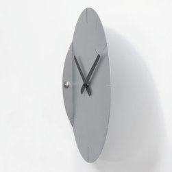 Progetti - Sheet Silver Wall Clock In Painted Steel - Sheet 2010 Wall Clock in Silver, Battery Quartz Movement, Made of Painted Steel, Made in Italy