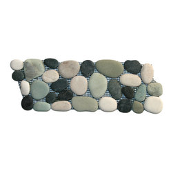 "CNK Tile - Bali Turtle Pebble Tile Border - Each pebble is carefully selected and hand-sorted according to color,  size and shape in order to ensure the highest quality pebble tile  available.  The stones are attached to a sturdy mesh backing using  non-toxic, environmentally safe glue.  Because of the unique pattern in  which our tile is created they fit together seamlessly when installed so  you can't tell where one tile ends and the next begins!   Usage:   Suitable for interior and exterior use, walls, floors, showers, backsplashes and pools.   Details:  Stone size: Approx. 3/4"" to 2-1/2""   Thickness: Approx. 1/2""   Dimensions per sheet: 4"" High by 12"" Wide  Mounting: Mesh-backed"