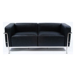 """IFN Modern - Le Corbusier LC3 Style Loveseat - The original Le Corbusier Sofa set collection was designed for the prestigious Maison La Roche house in Paris, France in the year 1928. This design is a modernist take on the traditional club chair.  This collection varies in a smaller version known as the LC2 and a larger version known as the LC3 which is considered to be more functional for practical living purposes. Exceptional in comfort, Le Corbusier often thought of his pieces as """"cushion baskets."""" An intriguing quality of the LC2 is the externalized metal frame which offers support to the base and extends as the legs and runs the entire length of this beautiful piece. The LC2 is not only attractive in a forward facing view- the metal frame work extends into design detail from the sides and back as well allowing for placement in any given area of a room. This is a quality, highly detailed reproduction of the original Le Corbusier Style LC3 Loveseat.Overall Dimensions: 26.4"""" H x 59"""" W x 27.6"""" Dâ— Available in 100% Full Grain Italian Leather and 100% Full Grain European Aniline Leather Upholsteryâ— Variety of colors availableâ— Fully upholstered in your leather grade of choice, including all sides, back and detailing; not Leather Match, Bonded Leather etc.â— Frame is constructed of grade 304 steel for stronger support and durable chip resistanceâ— All joints are fully welded, grind, sealed and sandedâ— Adjustable leveling floor protecting foot-capsâ— Multi-density, CA-117 compliant cushions wrapped in Dacron polyester battingâ— Reinforced bottom seat cushions for firm, long-lasting comfortâ— Fire retardant foamâ— Hardwood box frame constructionâ— 2 year warranty"""