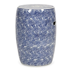 iMax - Tollmache Garden Stool - In a style reminiscent of New Burleigh and antique transferware, the Tollmache garden stool has a subtle, sophisticated oriental inspiration mixed with modern technique that makes it an one of a kind accent for any home.