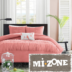 Mi-Zone - Mizone Lorena 4-piece Duvet Cover Set - The Lorena Duvet Cover Set creates an opulent look for your bedroom to update current decor. The ruched fabric on the duvet cover and sham gives the appearance of scalloped edges and ruffles covering the bed.