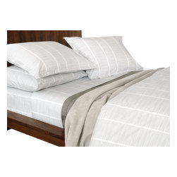 Area Inc. - Pins Gray Queen Fitted Sheet - Area Inc. - Give your bedding a clean, crisp update using the Pins Gray Queen Fitted Sheet. Made from cotton percale, this sheet features a soft gray horizontal pinstripe pattern offset by vertical white stripes. Pair this sheet with the Pins Gray Duvet Cover for a soft, monochromatic look.