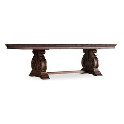 """Hooker Furniture - Hooker Furniture Adagio Rectangle Dining Table - Grand scale classic design and soft flowing shapes are married with a rich dark finish to give birth to the stunning Adagio collection. Two 20 inch leaves. Will seat up to twelve guests with leaves. Hardwood Solids, Pecan, Hickory, Ash, Black Walnut and Maple Veneers; Resin. Dimensions: 88""""W x 46""""D x 30""""H."""