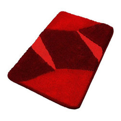 Red Luxury Non Slip Washable Bathroom Rugs, Large - This contemporary geometric shape large red bathroom rug is washable and non-slip / non-skid. Made from soft polyacrylic yarn which is warm, absorbent and dries quickly. High quality densely woven red bath mat which is durable, mold and mildew resistant. Machine wash warm, fluff dry in dryer. Made in Germany.