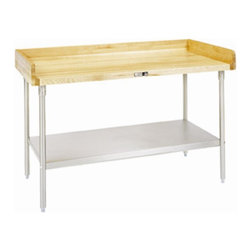 John Boos - Work Table w Base Shelf (48 in. x 24 in. - Ga - Choose Size and Base Material: 48 in. x 24 in. - GalvanizedAdjustable bullet feet. Bottom shelf secured in fixed position 12 in. above floor. 4 in. riser rear on back and sides. Varnique sides. National Sanitation Foundation certified. Warranty: One year against manufacturing defects. Made from maple. Made in USA. Minimal assembly required. Table top thickness: 1.75 in.. Galvanized Base Specification Sheet. Stainless Steel Base Specification Sheet