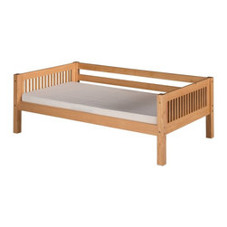 Camaflexi - Camaflexi Mission Headboard Day Bed - C211NT - Shop for Beds from Hayneedle.com! Versatile and timeless the Camaflexi Mission Headboard Day Bed is the perfect choice for your multi-use room. It's built to last from 100% solid eco-friendly wood and comes in classic finish options. This day bed is as durable as it is people-safe. It has clean mission lines and spindle details. To make it extra versatile the rear guard rail may be removed to change the day bed into a traditional twin bed. It has a slat roll foundation with unique center rail support that adds comfort and requires no box spring. Maximize floor space by adding the optional under bed storage drawers or trundle. Optional Furniture Dimensions:Optional trundle: 74.5L x 41.5W x 11.5H inchesOptional storage drawers: 74.5W x 20.5D x 11.5H inchesAbout CamaflexiCamaflexi designs furniture that grows with your children. They offer safety durability and beautiful furniture designs that you and your children will love. Camaflexi is a proud member of the sustainable furnishings council. All Camaflexi beds are made of solid wood and built to stand the test of time. They are all tested and certified to meet all government and industry safety standards. Camaflexi ladders and steps are extra wide to be safer for your children. Camaflexi creates furniture for growing children.