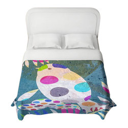 DiaNoche Designs - Cute Bird with Eggs Duvet Cover - Lightweight and super soft brushed twill duvet cover sizes twin, queen, king. Cotton poly blend. Ties in each corner to secure insert. Blanket insert or comforter slides comfortably into duvet cover with zipper closure to hold blanket inside. Blanket not included. Dye Sublimation printing adheres the ink to the material for long life and durability. Printed top, khaki colored bottom. Machine washable. Product may vary slightly from image.