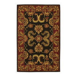 """Nourison - Nourison India House IH04 2'6"""" x 4' Black Area Rug 11149 - Splendid plumes plucked from a rajah's turban add impact to this statement piece. The rug fairly bursts with vitality in the movement of its pattern and deep, saturated effect of its magnificent black and burgundy coloration."""