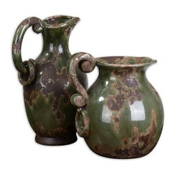 Uttermost - Uttermost 19429  Hani Forest Green Pitchers, Set/2 - Ceramic finished in distressed forest green with aged black and khaki undertones. sizes: sm-10x14x7, lg-11x12x10