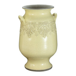 Lazy Susan - Lazy Susan 223044 Daffodil Vineyard Urn - Large - Made from terra-cotta and finished with a hand-applied daffodil yellow glaze, this urn features a floral motif and two side handles. Equally at home in a kitchen holding large utensils as it is perched in a sunroom with fresh or dried flowers, it's sure to become a favorite decorating accessory.