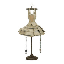 Metal Dress Form Jewelry Holder with Hooks - This dresser display cute not be any cuter! A 34 inch tall metal dress form complete with hanger…the fluted skirt forms a hut with hooks for hanging precious pieces. Adorable in a girly-girl's room.