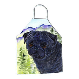 Caroline's Treasures - Pug Apron SS8420APRON - Apron, Bib Style, 27 in H x 31 in W; 100 percent  Ultra Spun Poly, White, braided nylon tie straps, sewn cloth neckband. These bib style aprons are not just for cooking - they are also great for cleaning, gardening, art projects, and other activities, too!