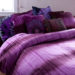 koi Stripe Dye Merlot Duvet Set - Each Duvet Set is made from soft and silky 300-thread count cotton sateen in the koi prints you love.
