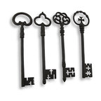 Set of 4 Oversized Antique Iron Keys - You`ll always know where the keys are with these oversized antique keys! They will never be far from sight hanging any on wall of your home. They are made of metal and designed to look just like cast iron with a time worn feel. They each measure approximately 13.5 inches high, 3.5 inches wide and 1/2 inch deep. They each have their own unique design making them an excellent `key` focal point.