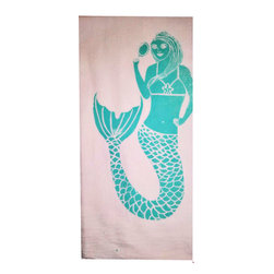 "Lulu LaRock - Mermaid Aqua Flour Sack Kitchen Towels Hand Designed & Pulled, Set of 2 - 100% Cotton flour sack towels ideal for kitchen but also may be used for bath hand towels. 28 x 30"". Colors: Aqua."