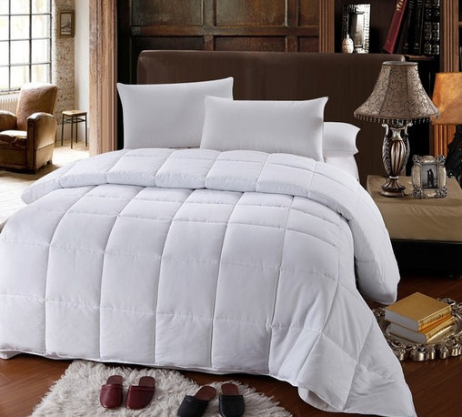 Bed Linens - Down Alternative Twin Comfor (300TC Microfiber)Twin White - Down Alternative Twin Comforter (300TC Microfiber)Sleep in luxurious comfort with this down alternative white comforter Features Micro-Fiber 300 thread-count cover Features an extremely soft touch and outstanding durability Box stitch construction keeps fill evenly distributed Twin: 68 x 90 inches, 42 oz. fill * 600 Fill Power * 300 Thread count * 100% Micro-fiber cover * Allergy Free * Machine Washable Down and feather-filled products are packed tightly during shipping. Upon receipt, remove them from their packaging, fluff gently, and allow several hours to recover their full loft. In addition, being sealed in plastic packaging sometimes causes the scent of these natural products to concentrate to a disagreeable level. A few hours of airing usually removes the odor.