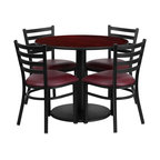 Flash Furniture - Flash Furniture Restaurant Furniture Table and Chairs X-GG-6001BRSR - 36'' Round Mahogany Laminate Table Set with 4 Ladder Back Metal Chairs - Burgundy Vinyl Seat [RSRB1006-GG]