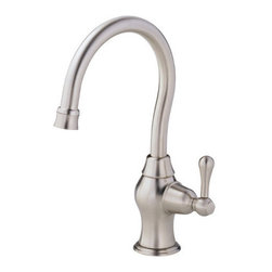 "Danze - Danze D152012SS Stainless Steel Melrose Filtering Kitchen Faucet From - Product Features:Faucet body and handles feature all-brass constructionFully covered under Danze's limited lifetime faucet warrantyHigh-quality finishing process – finish covered under lifetime warrantyKitchen faucets from Danze are designed to not only function flawlessly, but nourish the eyeSmooth single handle operationFor hot or cold use onlyADA compliant handleLow lead compliant – meeting federal and state guidelines for lead contentAll hardware required for faucet installation is includedProduct Technologies and Benefits:Drip-Free Ceramic Disc Valves: By making these components standard across all of their kitchen faucets, Danze has made leaking and rough operating faucets a thing of the past. These valves provide a lifetime of smooth handle control, and never allow a drop of water out of place. They are maintenance free and are sturdy enough to withstand the most severe conditions.Product Specifications:Overall Height: 10-15/16"" (measured from mounting deck to highest point on faucet)Spout Height: 6-9/16"" (measured from mounting deck to spout outlet)Spout Reach: 5-1/2"" (measured from center of faucet body to center of spout outlet)Faucet Holes: 1 (number of holes required for faucet installation)Flow Rate: 2.5 gallons-per-minute1 handle included with faucetMaximum Deck Thickness: 2"" (cannot mount on decks thicker without extension kit)Designed for use with standard U.S. plumbing supply bibs"