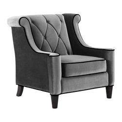 Armen Living Barrister Chair - Gray Velvet with Black Piping - The Armen Living Barrister Chair – Gray Velvet with Black Piping is both posh and professional. This distinguished chair features a tufted seat design with extraordinarily soft gray velvet and black piping for attractive, transitional style. The elegantly curved wings, high bolsters, and backrest have the very same flair while offering much needed comfort and support. Measures: 38W x 35D x 38H inches.About Armen LivingImagine furniture without limits - youthful, robust, refined, exuding self-expression at every angle. These are the tenets Armen Living's designers abide by when creating their modern furniture collections. Building on more than 30 years of industry experience, Armen Living combines functional versatility and expert craftsmanship into their dramatic furniture styles, all offered at price points fit for discriminating budgets. Product categories include bar stools, club chairs, dining tables, ottomans, sofas, and more. Armen Living is based in Sun Valley, Calif.