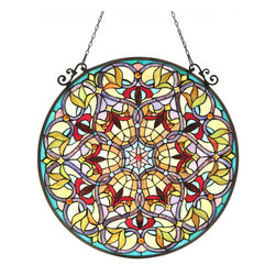 None - Tiffany Style Victorian Design Round Window Panel - This Tiffany style Victorian design round Window Panel will add color and beauty to any room. Hand-made from over 565 hand cut pieces of art glass,this panel catches the light in tones of beige,red,blue,green and purple.