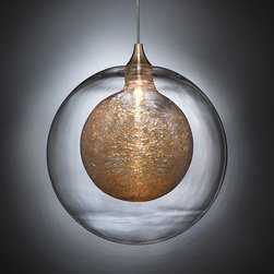 Kadur Pendants - Drizzled glass threads caught within pristine glass orbs hover suspended in midair.